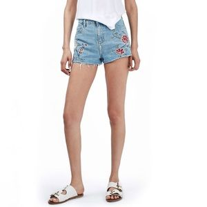 Topshop Shorts - Topshop Floral Embroidered Distressed Mom Shorts 4